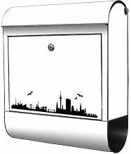 Briefkasten bunt Edelstahl Zeitungsfach motivX