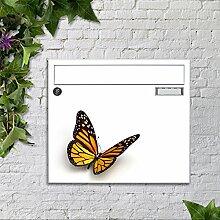 Briefkasten bunt pulverbeschichtet Zeitungsfach motivX Sonate Wandbriefkasten mit Motiv -Schmetterling