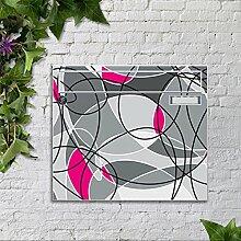 Briefkasten bunt pulverbeschichtet Zeitungsfach motivX Sonate Wandbriefkasten mit Motiv -Abstraktes Muster pink und grau