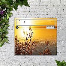 Briefkasten bunt pulverbeschichtet Zeitungsfach motivX Sonate Wandbriefkasten mit Motiv Herzen Motiv -Abendsonne am See