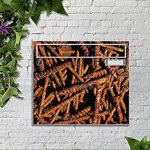 Briefkasten bunt pulverbeschichtet Zeitungsfach motivX Sonate Wandbriefkasten Briefkasten mit Motiv - Rostige Schrauben