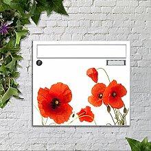 Briefkasten bunt pulverbeschichtet Zeitungsfach motivX Sonate Wandbriefkasten mit Motiv -Mohnblumen