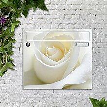 Briefkasten bunt pulverbeschichtet Zeitungsfach motivX Sonate Wandbriefkasten mit Motiv Motiv weiße Rose-