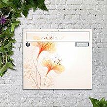 Briefkasten bunt pulverbeschichtet Zeitungsfach motivX Sonate Wandbriefkasten mit Motiv -Blumenzeichnung