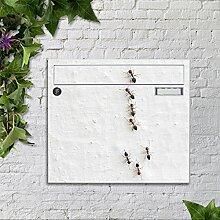 Briefkasten bunt pulverbeschichtet Zeitungsfach motivX Sonate Wandbriefkasten mit Motiv -Ameisen
