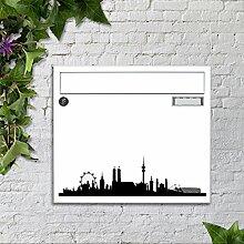 Briefkasten bunt pulverbeschichtet Zeitungsfach motivX Sonate Wandbriefkasten mit Motiv - Silhouette München