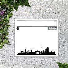 Briefkasten bunt pulverbeschichtet Zeitungsfach motivX Sonate Wandbriefkasten mit Motiv - Silhouette Berlin