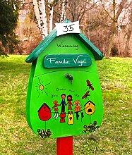 Briefkasten Familie, Holz, handbemalt, individuell