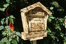 Briefkasten HBK-SD-GEFLAMMT aus Holz geflammt gebrannt amazon schwarz - natur Gartendeko Briefkästen Holzbriefkästen Postkasten Spitzdach - passt auch zu vielen Vogelhäusern Vogelhaus Insektenhotel Insektenhotels Vogelhäuser aus Holz Ergänzung für Vogelhäuschen und Vogelfutterhaus Nistkasten Meisenkasten