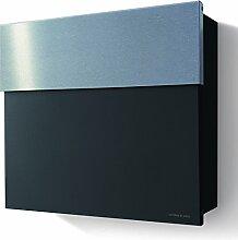 Briefkasten Letterman 4 schwarz mit Edelstahl Briefklappe , radius design