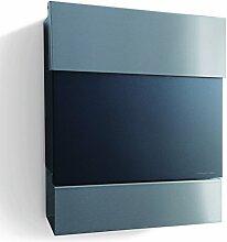 Briefkasten Letterman 5 schwarz mit Edelstahl Zeitungsrolle + Klappe, radius design
