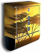 Briefkasten mit Deko Motiv: Afrika BK42, Edelstahl