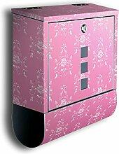Briefkasten mit Deko Motiv: Barock Pink BK123, Edelstahl Designer Postkasten mit Zeitungsrolle, Mailbox, Designbriefkasten, Postbox