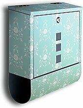 Briefkasten mit Deko Motiv: Barock Türkis BK124, Edelstahl Designer Postkasten mit Zeitungsrolle, Mailbox, Designbriefkasten, Postbox