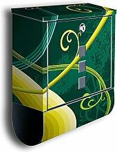 Briefkasten mit Deko Motiv: Corinna BK135, Edelstahl Designer Postkasten mit Zeitungsrolle, Mailbox, Designbriefkasten, Postbox