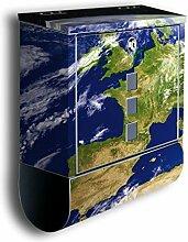 Briefkasten mit Deko Motiv: Erde BK5, Edelstahl