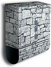 Briefkasten mit Deko Motiv: Granit BK28, Edelstahl