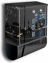 Briefkasten mit Deko Motiv: London Canary Wharf BK222, Edelstahl Designer Postkasten mit Zeitungsrolle, Mailbox, Designbriefkasten, Postbox