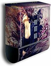 Briefkasten mit Deko Motiv: Musik ist Leidenschaft BK417, Edelstahl Designer Postkasten mit Zeitungsrolle, Mailbox, Designbriefkasten, Postbox