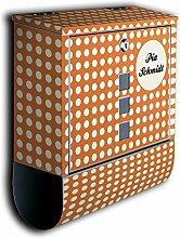 Briefkasten mit Deko Motiv: Orange Polkadot Punkte