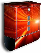 Briefkasten mit Deko Motiv: Orangener Tunnel BK355, Edelstahl Designer Postkasten mit Zeitungsrolle, Mailbox, Designbriefkasten, Postbox