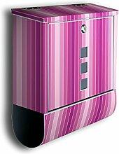 Briefkasten mit Deko Motiv: Pink Muster BK96, Edelstahl Designer Postkasten mit Zeitungsrolle, Mailbox, Designbriefkasten, Postbox
