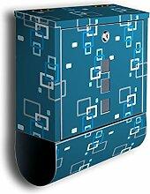 Briefkasten mit Deko Motiv: Retrokästchen Blau Dunkel BK104, Edelstahl Designer Postkasten mit Zeitungsrolle, Mailbox, Designbriefkasten, Postbox