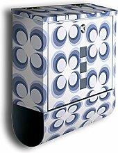 Briefkasten mit Deko Motiv: Retrokreise Blau BK99, Edelstahl Designer Postkasten mit Zeitungsrolle, Mailbox, Designbriefkasten, Postbox