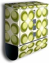Briefkasten mit Deko Motiv: Retrokreise Grün