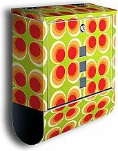 Briefkasten mit Deko Motiv: Retrokreise Orange