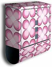 Briefkasten mit Deko Motiv: Retrokreise Rosa BK101, Edelstahl Designer Postkasten mit Zeitungsrolle, Mailbox, Designbriefkasten, Postbox