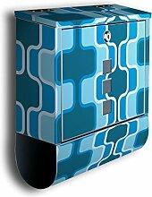 Briefkasten mit Deko Motiv: Retromuster Blau BK111, Edelstahl Designer Postkasten mit Zeitungsrolle, Mailbox, Designbriefkasten, Postbox