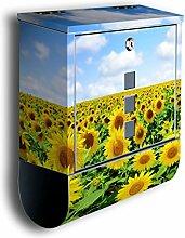 Briefkasten mit Deko Motiv: Sonnenblumenfeld