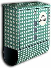 Briefkasten mit Deko Motiv: türkis Polkadot Punkte BK593 , Edelstahl Designer Postkasten mit Zeitungsrolle, individuelles Namensschild, Mailbox, Designbriefkasten, Postbox