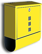 Briefkasten mit Deko Motiv: Uni gelb BK557, Edelstahl Designer Postkasten mit Zeitungsrolle, Mailbox, Designbriefkasten, Postbox