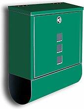 Briefkasten mit Deko Motiv: Uni türkis BK567, Edelstahl Designer Postkasten mit Zeitungsrolle, Mailbox, Designbriefkasten, Postbox