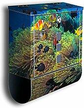 Briefkasten mit Deko Motiv: Unterwasser BK17, Edelstahl Designer Postkasten mit Zeitungsrolle, Mailbox, Designbriefkasten, Postbox