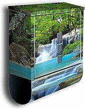 Briefkasten mit Deko Motiv: Wasserfall im Wald BK485, Edelstahl Designer Postkasten mit Zeitungsrolle, Mailbox, Designbriefkasten, Postbox