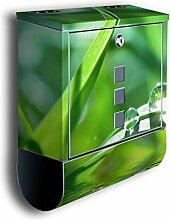 Briefkasten mit Deko Motiv: Wassertropfen BK36, Edelstahl Designer Postkasten mit Zeitungsrolle, Mailbox, Designbriefkasten, Postbox