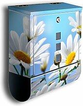 Briefkasten mit Deko Motiv: weisse Blumen BK52,