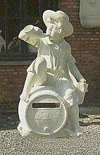 Briefkasten mit Horn, post box, Stein Farbe terrakotta