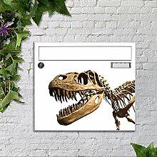 Briefkasten mit Motiv -Skelett Dinosaurier- mit Namensschild bunt pulverbeschichtet motivX Sonate Wandbriefkasten
