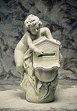 Briefkasten mit Muschel, post box, Stein H 100 Farbe hellgrau