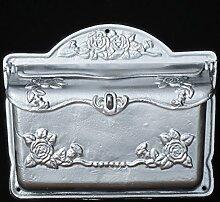 Briefkasten mit Rosenmotiv Postkasten silber glänzend antiker Landhausstil Eisen