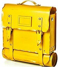 Briefkasten mit Zeitungsrolle - Modell: Tasche, in gelb - aus Metall - handarbei