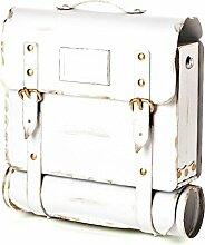 Briefkasten mit Zeitungsrolle - Modell: Tasche, in weiss - aus Metall - handarbei
