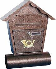 Briefkasten mit Zeitungsrolle, Stahl verzinkt, mit Namensschild