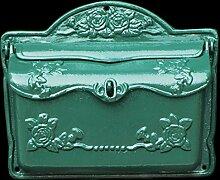 Briefkasten Nostalgie Stil grün lackierter Postkasten Rosenmotiv im Landhausstil