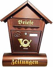 Briefkasten Postkasten mit Zeitungsrolle Wandmontage Spitzdach Farbe kupfern