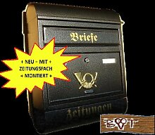 Briefkasten R groß in schwarz anthrazit dunkel